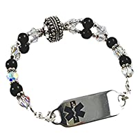 "Medical Alert Manhhattan Beaded Bracelet, FREE Engraving, Sizes 6.75"" to 9.5"" from Creative Medical ID"