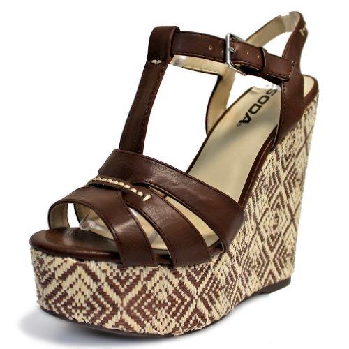Luxury Divas Brown & Beige Strappy High Wedged Heel Espadrille Pumps Size 6