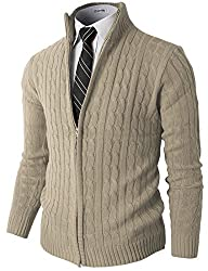 H2H Mens Slim Fit Full-zip Kintted Cardigan Sweaters with Twist Patterned BEIGE US S/Asia M (KMOCAL032)