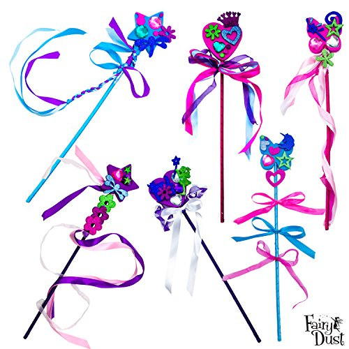 Fairy Dust Make Your Own Wand Party Kit - Includes 6 Wands, Glitter Stickers, Gem Stickers, and Assorted Ribbon (Make Your Own Wand compare prices)