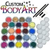 24 Color Pro Face Paint Color Set. Large 10-ml Jars With Applicator Kit. A Full 24 Color Rainbow Pallet, Perfect...