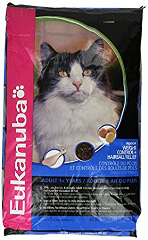 Eukanuba Cat Indoor Weight Control and Hairball, 16-Pound