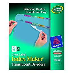 Avery Index Maker Translucent Dividers with Clear Labls, 5 Tab, Multi-Color, 5 Sets (12452)