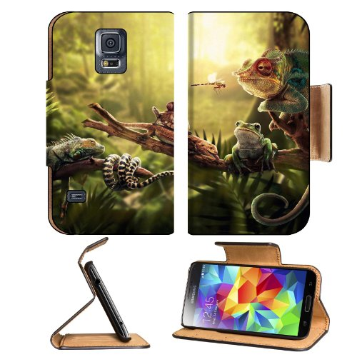 Jungle A Fern Light Iguana Lizard Turtle Dragonfly Snake Snail Frog Samsung Galaxy S5 Sm-G900 Flip Cover Case With Card Holder Customized Made To Order Support Ready Premium Deluxe Pu Leather 5 13/16 Inch (148Mm) X 2 1/8 Inch (80Mm) X 5/8 Inch (16Mm) Liil