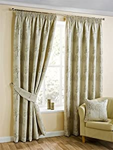 Embroidered Tree Beige Gold 46x54 117x137cm Lined Pencil Pleat Curtains Drapes by Curtains