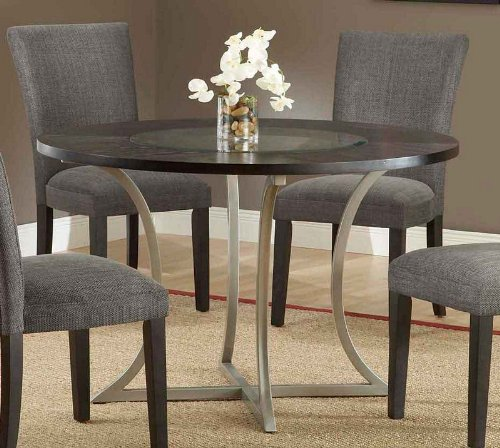 Cheap Dining Table with Glass Inset Top in Pewter Finish (HS-4250DTB)