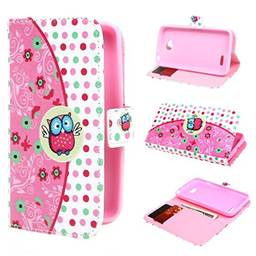 Bayke Brand / Lg Optimus L90 Case , Elegant Fashion Print Style Ranunculus Flowers And Cartoon Owls In Vector Seamless Pattern Pu Leather Wallet Type Flip Folio Design Protective Skin Cover With Credit Card Holder Slots Case For Lg Optimus L90 Case