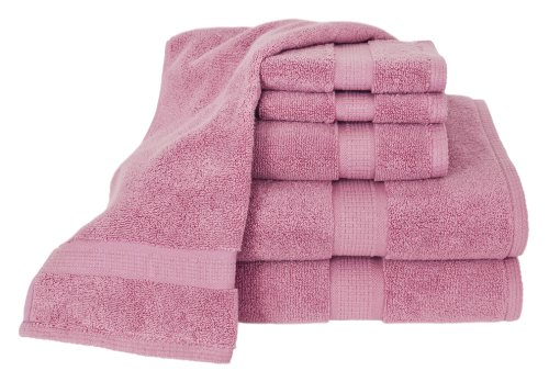 Calcot Growers Collection 100-Percent Zero-Twist Supima Cotton 6-Piece Bath Towel Set, Cherry Blossom