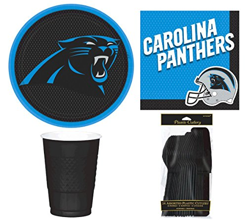 NFL Carolina Panthers Plate, Napkin, Cup, Fork, Spoon, Knife Party Set for 8