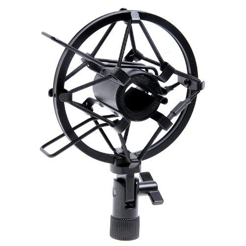 1Set Black Handheld Condenser Microphone Shock Mount Clip Mic Shockmount Dynamic Studio Holder
