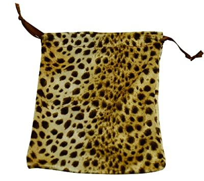 "2 Leopard Velveteen Drawstring Pouch Bags for Jewelry Makeup or Small Items New 5""x 6"" Includes Matching Brown Paper Sacks"