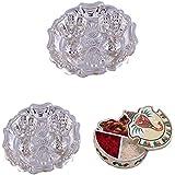 GS MUSEUM Silver Plated Rani Kumkum Plate 2 Sets And Handicraft Ganesh Chopda
