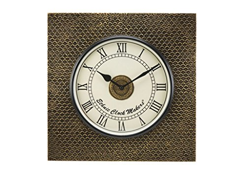 Makers Ethnic Clock Makers Brass Wood Wall Clock (Yellow)