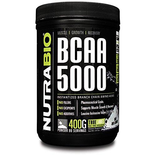 NutraBio BCAA 5000 Powder - 400 Grams -