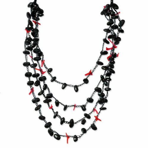 Baby Black Bean & Coral Chip Spongie Draped Necklace