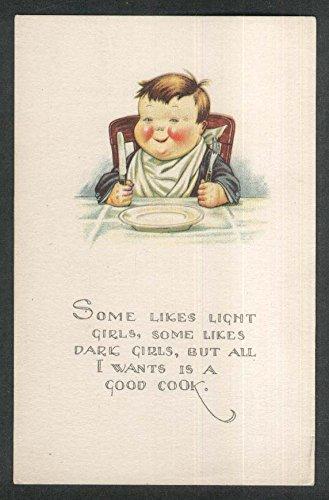 Fat Boy Fork Knife Plate Napkin Wants A Good Cook Postcard 1920S