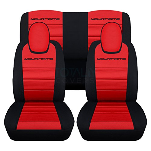 2010 to 2015 (5th Gen) Chevrolet Camaro 2-Tone Seat Covers with Your Name/Text: Black and Red - Full Set (22 Colors Available) (5th Generation Camaro Accessories compare prices)