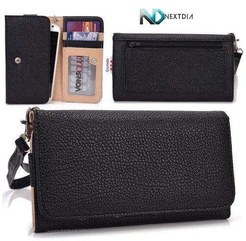 Doogee Dagger Dg550 Wallet Wristlet Case || Black With Credit Card Holder