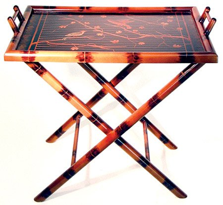 "High Qualty Japanese Chinese Asian Furniture - 28"" Lacquered Burnt Bamboo Cross Leg Serving Tray w/ Stand End Table"