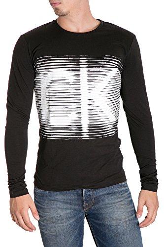 CALVIN KLEIN JEANS - T-shirt uomo manica lunga con stampa slim fit tac 2 m grigio scuro
