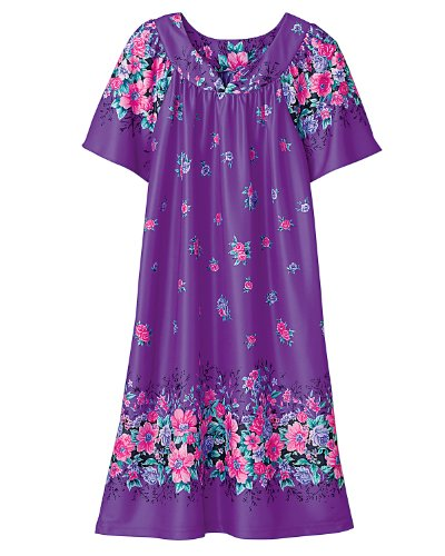 National Polyester Slip-on Dress, Purple Floral, 1X