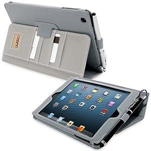 Snugg® iPad Mini & iPad Mini 2 Case - Executive Smart Cover With Card Slots & Lifetime Guarantee (Grey Leather) for Apple iPad Mini & iPad Mini 2