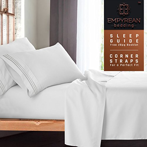 Full Size Bed Sheets Set, White - Soft Luxury Best Quality 4-Piece Bed Set - Features Special Tight Fit Corner Straps on Extra Deep Pocket Fitted Sheets + Fun