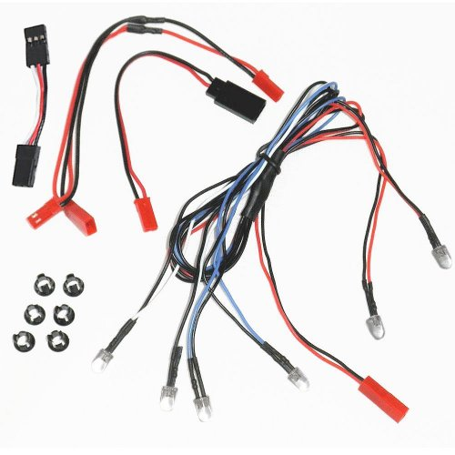 Bastens RC Car & Truck 6 LED Kit Set with Snap-In Holder Rings – 2 White Headlight / 2 Red Tail Lights / 2 Blue Fog or Parking Accessory Lights – fits most 1/10 – 1/16 – 1/18 scale image