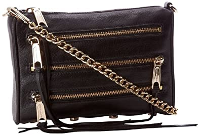 Rebecca Minkoff Mini 5 Zip Convertible Cross-Body Handbag,Black,One Size