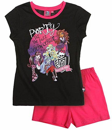 Monster High Pyjama 2014 Kollektion 122 128 134 140 146 152 158 164 Schlafanzug Kurz Mädchen Shorty Shortie Kurz L2 Schwarz - Pink (134 - 140)