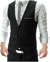 Hee Grand Men's Casual Business Waistcoat Vest Tops
