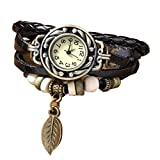 Antique Black Leather Wrap Bracelet Women's Wrist Watch thumbnail