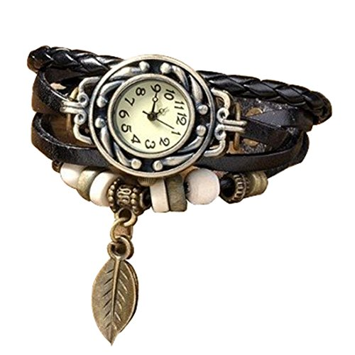 Antique Black Leather Wrap Bracelet Women's Wrist Watch image