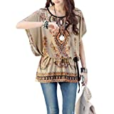 Allegra K Womens Round Neck Batwing Sleeve Stretchy Pullover Tunic Shirt