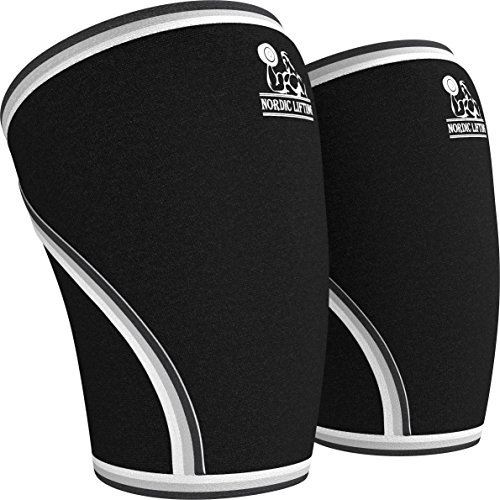 Knee-Sleeves-1-Pair-Support-Compression-for-Weightlifting-Powerlifting-CrossFit-7mm-Neoprene-Sleeve-for-the-Best-Squats-Both-Women-Men-by-Nordic-Lifting-1-Year-Warranty