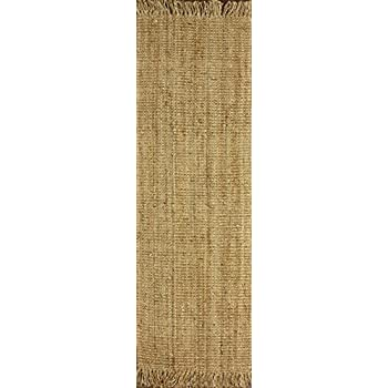"nuLOOM Natural Hand Woven Chunky Loop Jute Runner, 2 6"" x 8"