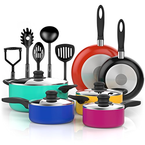 Vremi 15 Piece Nonstick Color Pop Cookware Set with Cooking Utensils - inc. Saucepans and Dutch Oven Pots with Glass Lids and Fry Pans for Saute - also has Spatula Slotted Spoons Masher and Soup Ladle (Aluminum Pan Cleaner compare prices)