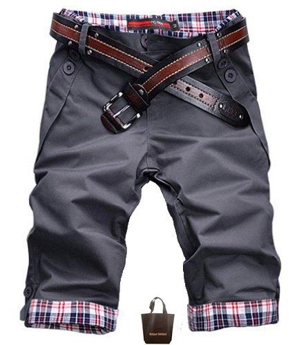 (アーバンセレクト) Urban Select ハーフパンツ メンズ クロップドパンツ 七分丈 デニム スポーツ 花柄 赤 チェック 七分丈 AI-401(エコバッグセット) (XL, スチールグレー)