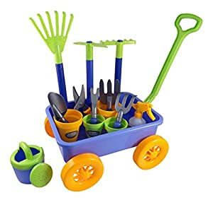 Garden wagon tools toy set for kids with 8 for Gardening tools toddlers