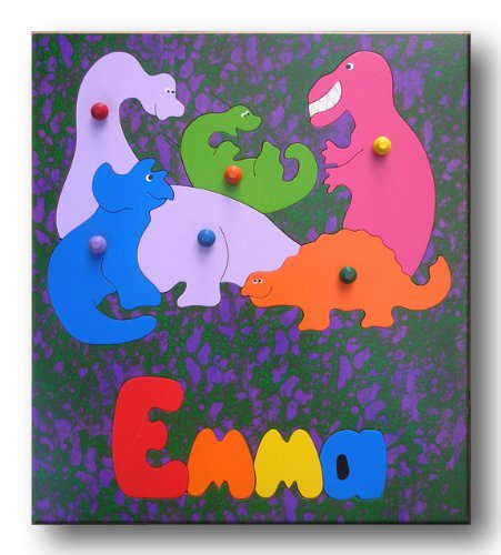 Picture of KidPuzzles Wooden Name Puzzle Dinosaurs (B00564HLI4) (Pegged Puzzles)