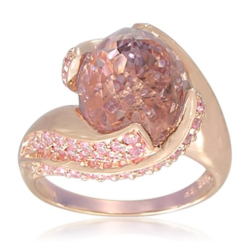 Rose Gold Plated Sterling Silver Twist Shape Pink Amethyst Ring, Size 7
