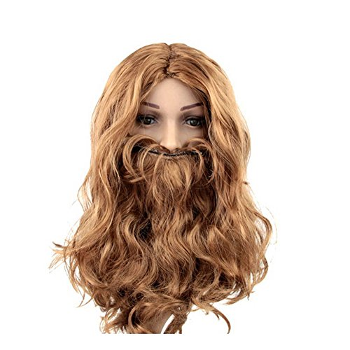 Nuotuo Halloween Party Brown Jesus Pastor Wig and Long Mustache Sets
