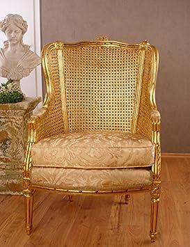 """Königlicher Armsessel, Lehnsessel, Polstersessel, Sessel - """"Chateau de Versailles"""" - mit königlichem Ambiente im Barock-Stil in Gold- Palazzo Exclusive"""