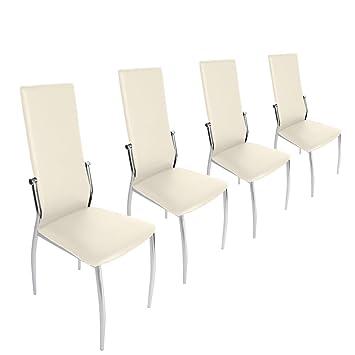 Miadomodo ezstl04 2creme sedie da tavolo set da 4 crema for Sconti sedie