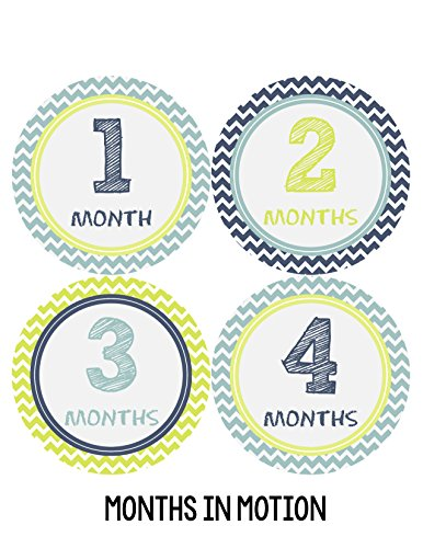Months In Motion 292 Monthly Baby Sticker Baby Boy Months 1-12 Chevron Milestone front-62585