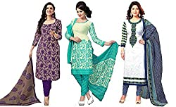 Sancom Combo pack of three colors (Purple,Sea Green,White)UnStitched Art Silk Dress Material