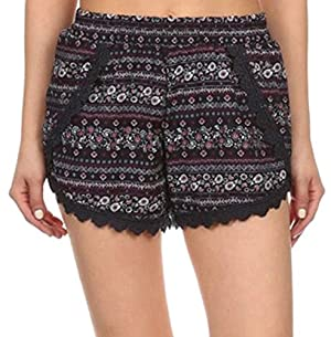 Simplicity Junior's Floral Pattern Lace Trim Beach Shorts, Black/Magenta/White, L