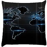 Snoogg Digital World Cushion Cover Throw Pillows 16 X 16 Inch