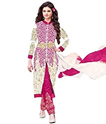 Regalia Ethnic New Collection White And Pink Embroidered Georgette Semistitched Dress Material With Matching Dupatta