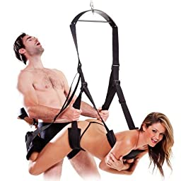 Sex swing, Acome Luxury Heavy Duty Indoor Swing Sex chair with Steel Triangle Frame and Spring for Fetish Sex Bondage Unisex Durable Nylon Holds for Couple in Black